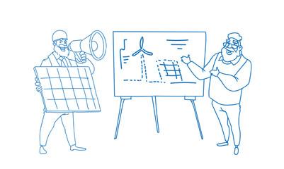 Men engineer wind turbine solar energy panel renewable station presentation sketch doodle full length horizontal vector illustration