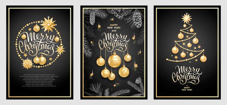Set of three card Merry Christmas and Happy New Year. Christmas tree, golden glass balls, stars, sequins and elegant lettering on black background. Sketch of branches fir tree, cedar, pine and cones