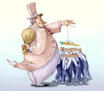 baton and carrot and exploitation polical illustration