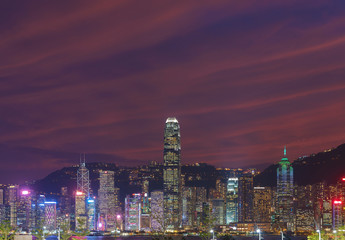 Fototapete - dramatic cloud at dusk over the skyline of Hong Kong city