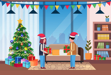 merry christmas happy new year couple give each other present gift box in living room pine tree home interior decoration winter holiday concept flat horizontal vector illustration
