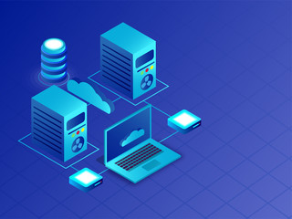 Isometric servers and laptop connected with cloud server for Data Center or Database concept.