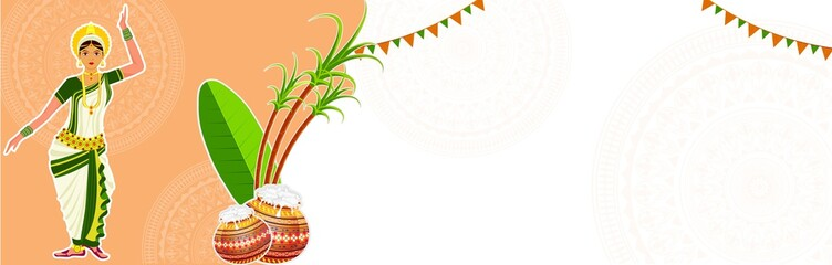 Website header or banner design with illustration of young girl in traditional clothing and festival elements on floral background for South Indian festival celebration.