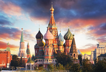Aluminium Prints Asian Famous Place Moscow, Russia - Red square view of St. Basil's Cathedral at sunrise, nobody