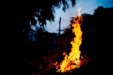 Foto op Aluminium Noorderlicht fire in the fireplace