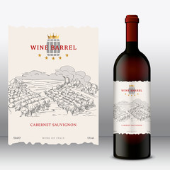 Modern Wine Label with bottle. Front Label