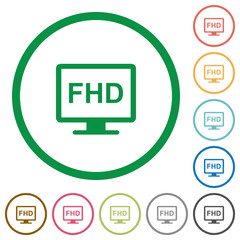 Full HD display flat icons with outlines
