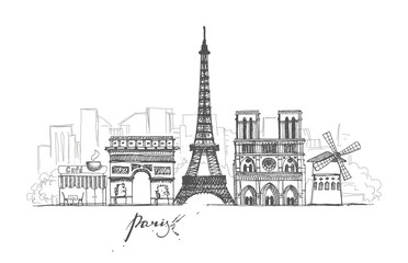 Paris sketches collection. Abstract cityscape with landmarks