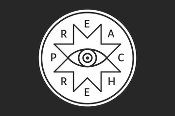 The preacher vector badge with all-seeing eye