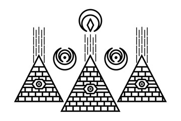 Stylized Egyptian pyramids. Mystical symbol. Knowledge eye. All seeing eye pyramid symbol. New World Order.Freemason and spiritual, religion, spirituality, alchemy, occultism, tattoo art.