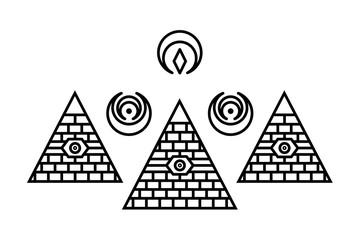 Stylized Egyptian pyramids. Mystical symbol. Knowledge eye. All seeing eye pyramid symbol. New World Order.Freemason and spiritual, religion, spirituality, alchemy, occultism, tattoo art.
