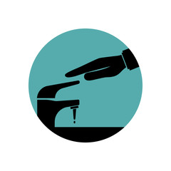Save water black icon. Man closes hand faucet. Shut off the water. Vector illustration flat design. Isolated on background. Care for saving resources.