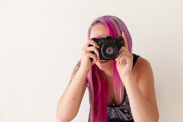 beautiful woman with pink hair portrait photographer