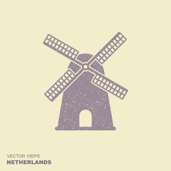 Windmill icon silhouette vector illustration with scuffed effect