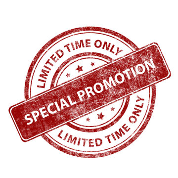 Red round grunge stamp special promotion - limited time only. Seal