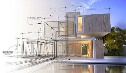 Design stages of luxury villa Fotomurales
