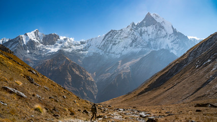 Himalayas mountain landscape in the Annapurna region. Annapurna peak in the Himalaya range, Nepal. Annapurna base camp trek. Snowy mountains, high peaks of Annapurna