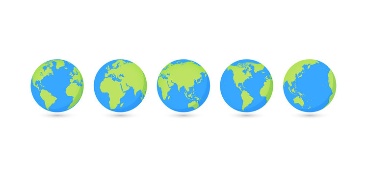 Globes set collection. Vector illustration. On white background.