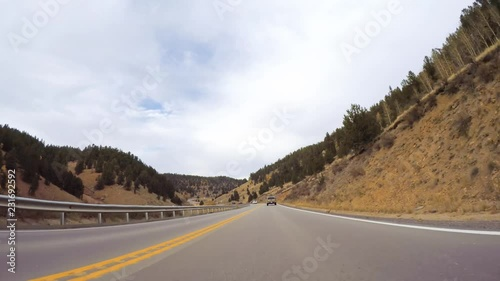 Wall mural Driving on mountain highway 67 to Colorado Springs in Autumn.