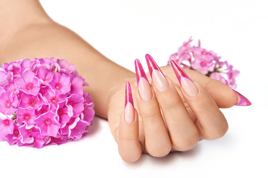 French manicure with pink flower