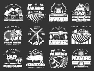 Farming, cattle farm and agriculture vector icons