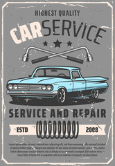 Vehicle service and repair old cars, vector