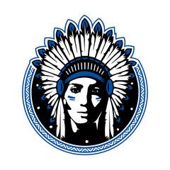 Cherokee women, indian, women war. Vector Illustration