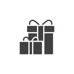 Gift boxes with bow ribbon vector icon. filled flat sign for mobile concept and web design. Present box simple solid icon. Symbol, logo illustration. Pixel perfect vector graphics