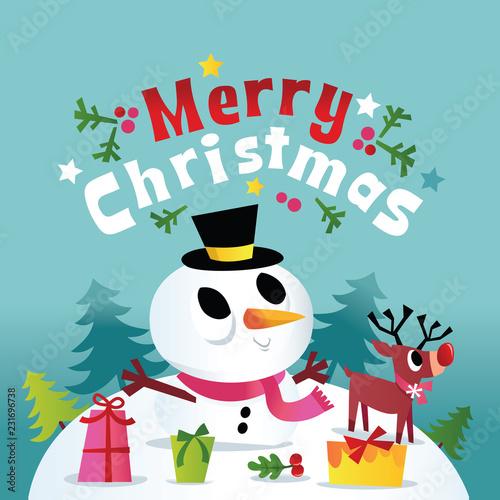 Super Cute Merry Christmas Winter Snowman\