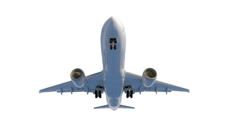 Commercial jet plane. 3D render. Bottom front view