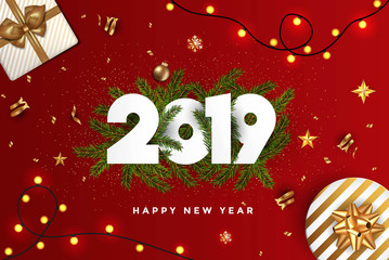 Holiday New year card  2019 - fir branches on red background