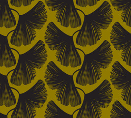 Fototapete - Simple and seamless vector pattern with ginkgo