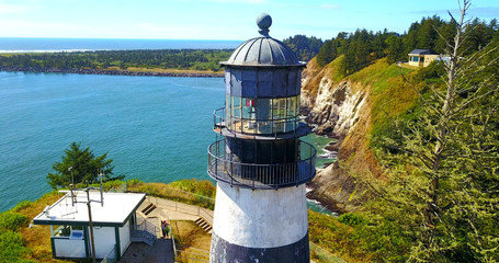 Foreground View Of Lighthouse On Cape Disappointment - Washington, USA