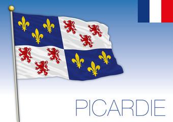 Picardie regional flag, France, vector illustration