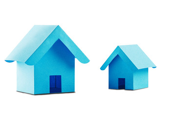 Estate concept, two toy paper house on isolated white background with shadow. Idea for real estate concept, personal property and family house.
