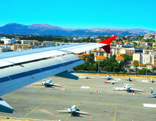 aerial view airport Nice from plane, French Riviera, Cote d'Azur,  France