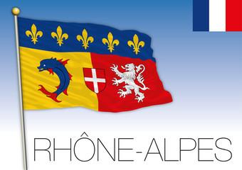 Rhone Alpes regional flag, France, vector illustration