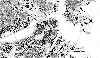 Mappa satellitare di Boston, Massachusetts, strade cittadine. Mappa stradale, centro città. Stati Uniti d'America