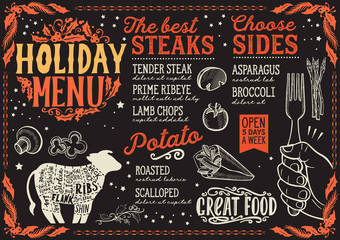 Christmas menu template for steak restaurant.