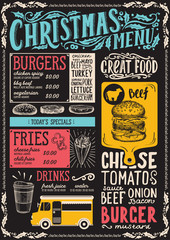 Christmas menu template for food truck.