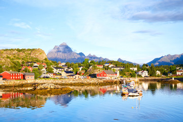 Fotomurales - Fishing village Kabelvag at morning in Lofoten, Norway