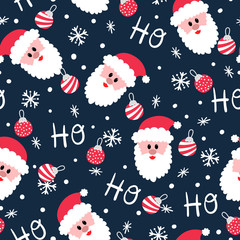 Jolly Santa Ho Ho Ho Christmas seamless pattern