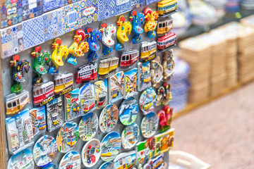 LISBON - OCTOBER 30, 2018: Souvenirs in a local shop. Lisbon attracts 3 million tourists annually