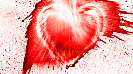 Heart shape from splaches and blobs