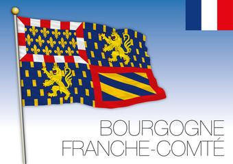 Bourgogne Franche-Comte regional flag, France, vector illustration