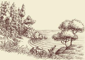 Foto auf Gartenposter Beige Small wild beach hand drawing