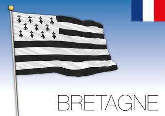 Bretagne regional flag, France, vector illustration