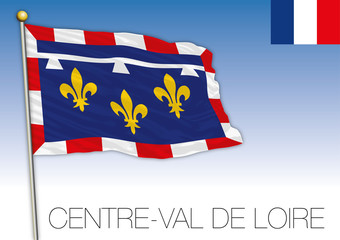 Centre Val de Loire regional flag, France, vector illustration