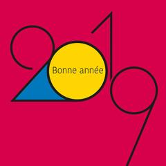Carte de vœux 2019 avec un graphisme élégant, fait de lignes noires sur un fond rose fuchsia et de formes bleue et jaune.