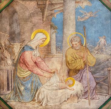 PRAGUE, CZECH REPUBLIC - OCTOBER 17, 2018: The fresco of Nativity the in church kostel Svatého Cyrila Metodeje by Petr Maixner (1872).